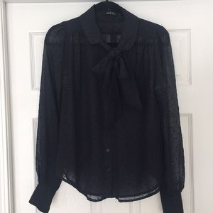 Ark & Co navy sheer heart blouse with tie neck